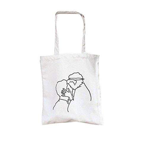 Longra Sacchetto di acquisto del sacchetto di spalla di stampa del tutto-fiammifero della borsa della tela di canapa delle donne Bianca_C Venta Barata De Pago Con Visa Venta Al Por Mayor Del Mejor Comprar Barato Más Reciente Excelente Para La Venta Sluhj5Ks