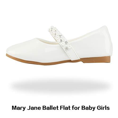 DREAM PAIRS Serena-100-inf Mary Jane Ballerinas für Mädchen Weiß 21 EU/5 US Toddler -