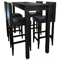 Conjunto Negro de Bar - Mesa y 4 Sillas