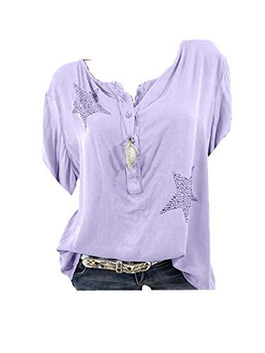 Bluse Damen Herbst Shirt Knopf Fünfzackigen Stern Hot Drill Tops Oberteil Langarm 3/4 Ärmel O-Ausschnitt Sweatshirt Langarmshirt Lose Hemd Tunika - Tie Neck Chiffon-bluse