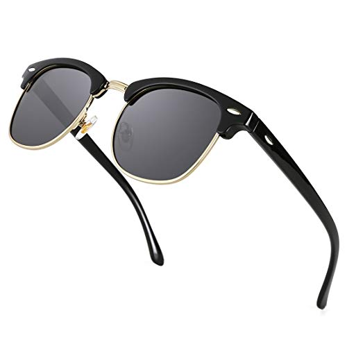 TIJN Retro Sonnenbrille Herren Polarisiert sSemi-randlosen Halbrahmen für Sport fahren Angeln Skifahren Frauen
