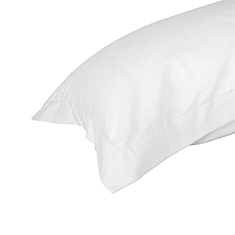 Homescapes Egyptian Cotton King Size Oxford Pillowcase White 200 Thread Count Percale for Large Pillows Anti