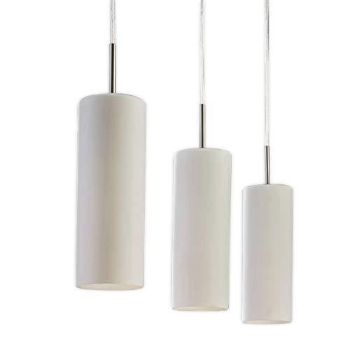 Lampenwelt Pendelleuchte \'Vinsta\' dimmbar (Modern) in Weiß aus Glas u.a. für Wohnzimmer & Esszimmer (3 flammig, E27, A++) - Hängelampe, Esstischlampe, Hängeleuchte, Wohnzimmerlampe