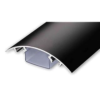 TV Design Aluminium Kabelkanal in schwarz seidenmatt lackiert in verschiedenen Längen von ALUNOVO (Länge: 140cm)