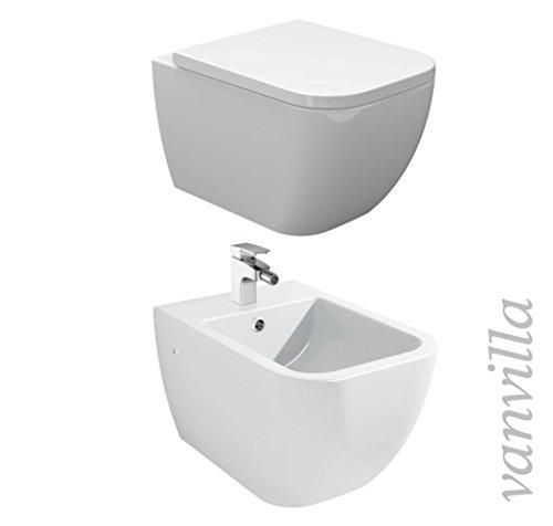 vanvilla Design Hänge WC Spülrandlos rimless + Hänge Bidet SET Tara, inklusive Soft-Close