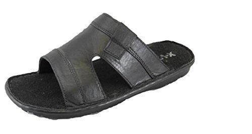 Herren Hausschuhe-Schuhe Echtleder Moccs Moccsins Black Glen