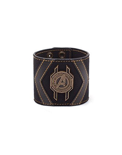 Bioworld EU Men's Marvel Comics Infinity War Avengers Crest Wristband Black/Gold (WB746635AVG) Arm Warmer, Brown (Brown Brown), One Size