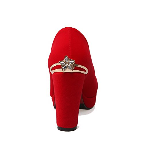 AllhqFashion Femme Suédé Mosaïque Tire Rond à Talon Haut Chaussures Légeres Rouge