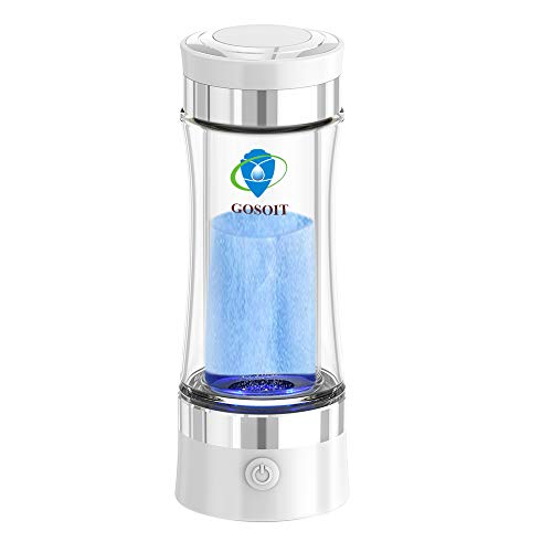 GOSOIT Hydrogen Alkaline Water Bottle Machine Maker Hydrogen Water Generator with SPE and PEM Technology,US Dupont Membrane Make Hydrogen Content up to 800-1200 PPM and PH of 7.5-9.0 (up white)