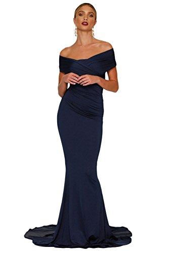 COSIVIA Donna Fuori-spalla Abito da sposa della sirena della spalla Prom Party Gown Vestiti da sera Blu navy