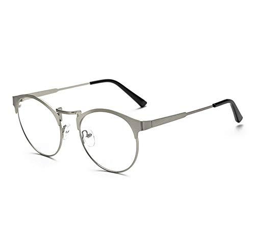 AdorabFrames Gläser Blaulicht Brillengestell Metall runder Rahmen Retro flacher Spiegel Trend Brillengestell Unisex silber gebürstet