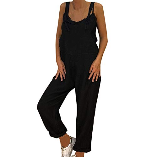 SoonerQuicker Womens Loose Linen Long Playsuit Latzhose Harem Pants Damen Overall lässig Feste Jumpsuit -