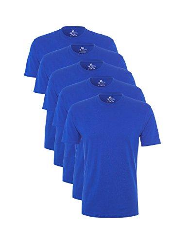 Lower East Herren T-Shirt mit Rundhalsausschnitt, 5er Pack, Gr. X-Large, Blau (Viktoria Blau)
