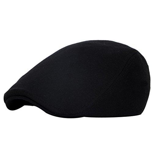 ACVIP Adulte Enfant Style Mode Chapeau Casquette Plate Flat Cap Coton,5 Couleurs Noir