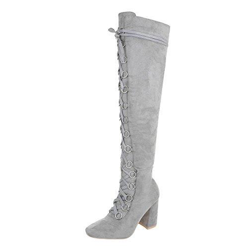 Ital-Design Overknees Damen-Schuhe Overknees Pump Schnürer Reißverschluss Stiefel Hellgrau, Gr 38, Jr-009-