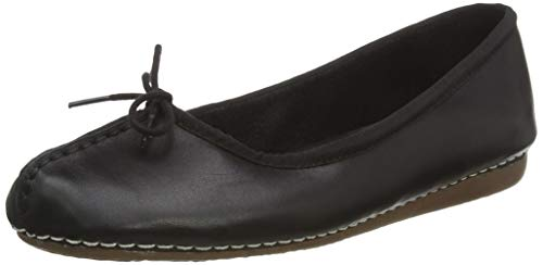 Clarks Freckle Ice, Bailarinas para Mujer, Negro Black Leather, 39