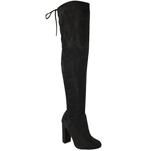 Fashion Thirsty Womens Ladies Thigh High Boots Over The Knee Party Stretch Block Mid Heel Size