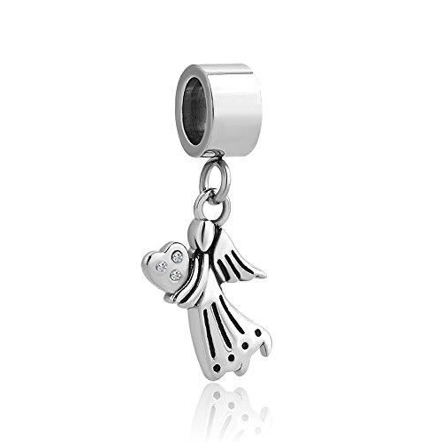 Korliya ciondolo con angelo e cuore, per braccialetto