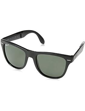 Ray-Ban Folding Wayfarer Gafas de sol, Rectangulares, Polarizadas, 55, Black