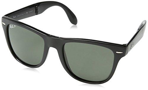 Ray Ban Unisex Sonnenbrille Wayfarer Folding Gelstell: Schwarz, Gläser: Polarized Grün Klassisch 601/58), Large (Herstellergröße: 54)