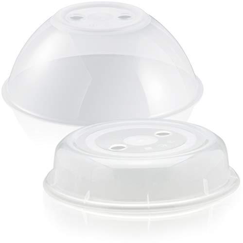 Hausfelder Mikrowellenhaube XL Mikrowellen Abdeckung - 2er Set groß und klein - spülmaschinengeeignet und BPA-frei, ideal als Abdeckhaube Spritzschutz Deckel Teller Haube für die Mikrowelle
