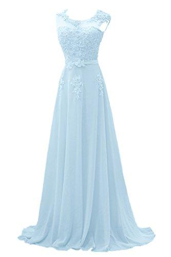 Gorgeous Bride Modisch Lang Rundkragen A-Linie Chiffon Tuell Spitze Schleppe Abendkleider Festkleider Ballkleider Hellblau