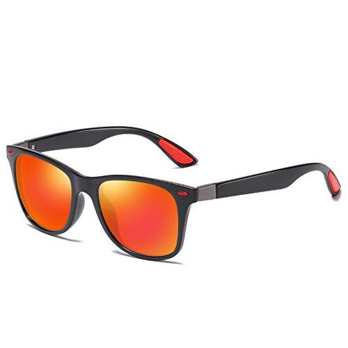 Taiyangcheng Polarisierte Sonnenbrille Männer Frauen Fahren Square Frame Sonnenbrille Männlich Eyewear,Schwarz Rot