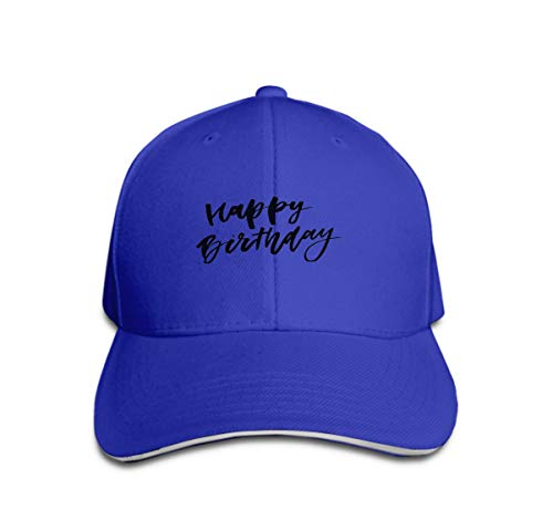 Xunulyn Vintage Jeans Baseball Cap Happy Birthday Beautiful Greeting Card Scratched Calligraphy bl Blue -