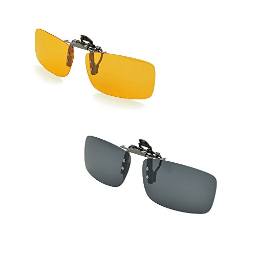 a5e36823f7a Enem 2 Piece Day   Night Vision Polarized Clip-On Flip-Up Driving  Rectangular