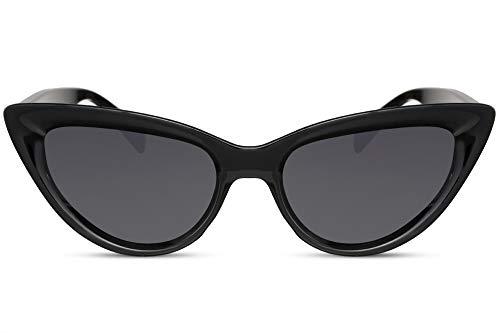 Cheapass Sonnenbrille Damen Cat-Eye Schwarz Glänzend UV-400 Schmal Katzenauge Designer-Brille Plastik Frauen