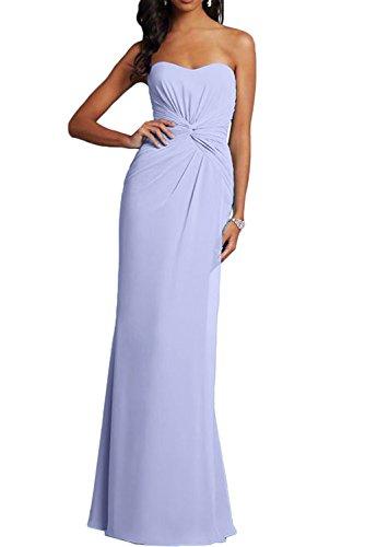 Promgirl House Damen Elegant Sexy Einfach Traegerlos Etui Chiffon Lang Abendkleider Brautjungfernkleider Promkleider Lavendel