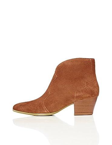 FIND Women's Western Ankle Boots, Beige (Tan), 4 UK 37 EU