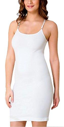 MI Lingerie Damen Mieder Kleid Unterkleid mit verstellbaren Träger - Madamar Weiß