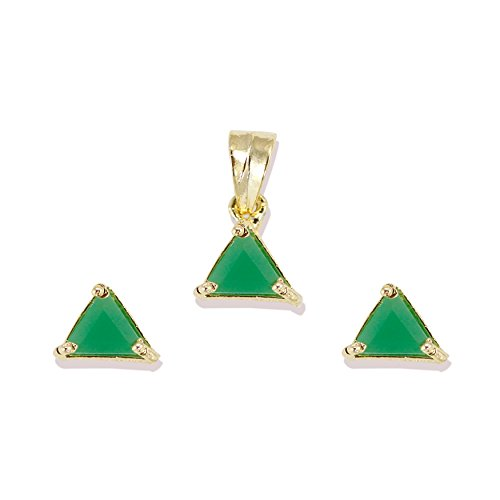 Zaveri Pearls Limited Edition Emerald Semi Precious Pendent Set For Women - ZPFK5350