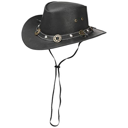 Scippis Concho Lederhut Classic Cowboyhut Australienhut (XL/60-61 - schwarz)