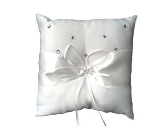 White Satin Wedding Ring Cushion Pillow Bearer with Bow Diamante Boxed