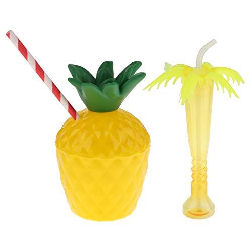 D DOLITY Süß Ananas und Palme Becher Trinkbecher Cocktailbecher Partybecher für Bar und Hause, aus Plastik (Ananas Und Palmen Kostüm)