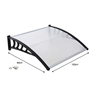 Gr8 Garden 2005599 Front Door Canopy Porch rain Protector Awning Lean to roof shelter Shade Cover[80 x 120cm], Translucent