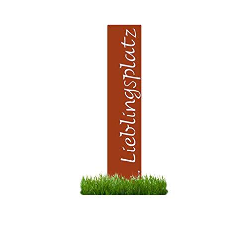 prima terra 'Lieblingsplatz Gartenstele Edelrost Stele Dekoration Gartendekoration Deko Garten H=120cm B=20cm