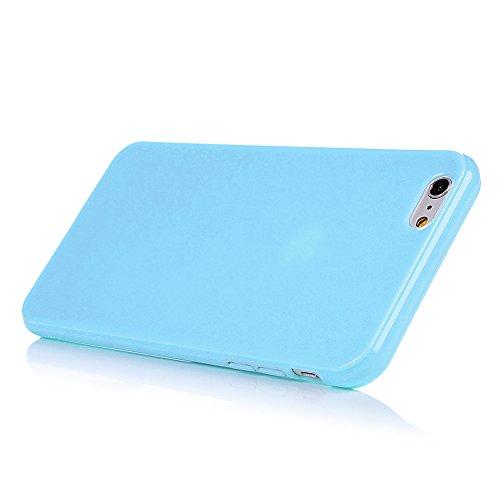 MAXFE.CO TPU Silikon Hülle für iPhone 6 Plus/6S Plus TPU Handyhülle Schale Etui Protective Case Cover Rück mit Einfarbig Skin TPU Kantenschutz Schutzhülle Schwarz Hellblau
