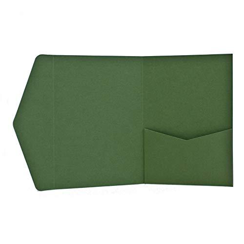 Pocketfold Karten A6 oliv grün - Hochzeitskarten selber machen