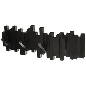 Umbra Sticks Garderobenhaken - Moderne und Platzsparende Garderobenleiste mit 5 Beweglichen Haken für Jacken, Mäntel, Schals, Handtaschen und Mehr, Schwarz
