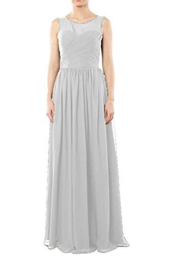 MACloth Women's O Neck Long Chiffon Bridesmaid Dress Formal Evening Party Gown Ivoire