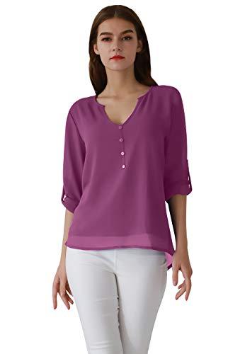 d0706d6bf374f1 OMZIN Damen Tops Chiffon Langarm Shirts Casual Bluse Lose V-Ausschnitt Bluse  T Shirt Top Violett XXL