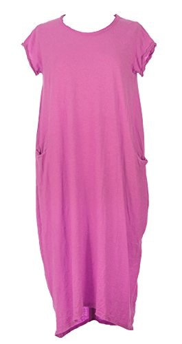 TEXTURE Ladies Women Italian Lagenlook Cap Sleeve Plain Cotton Midi Dress One Size (Cerise Pink, One Size)