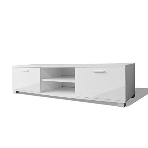 vidaXL - Mobiletto porta TV/HiFi lucido, colore: bianco/nero, 140 x ...