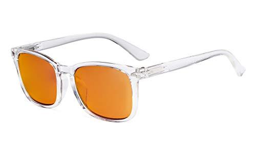 Eyekepper Blaulichtblockierung.Computer-Lesebrille.Quadratische Nerdbrille mit orangefarbener Gläser,Klar+0.75