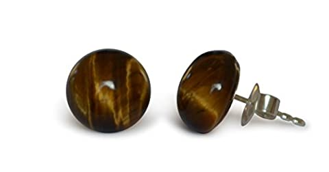 Tiger eye stud earrings, natural, flat round, 10mm, 925 silver