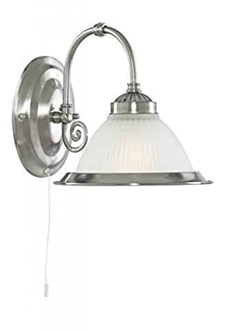 American Diner satin silver finish switched wall bracket. Complete with opal ribbed glass and matching metal trim 1041-1 - Searchlight