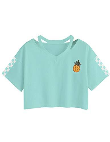 Bauchfreier Pulli Mädchen, Damen Bauchfrei Pullover Brief Drucken Casual Langarm Sweatshirt Kurz Sport Crop Tops Oberteile Sweatjacke Shirts Hemd Bluse (Grün 3, S) -